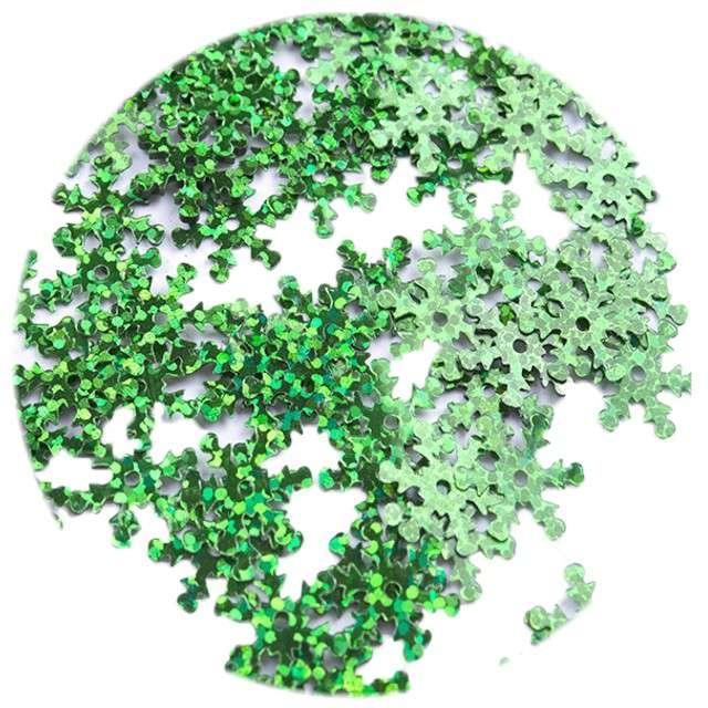 """Cekiny """"Śnieżynki XL Holo"""", zielone, 18 mm, 200 szt, Czakos"""