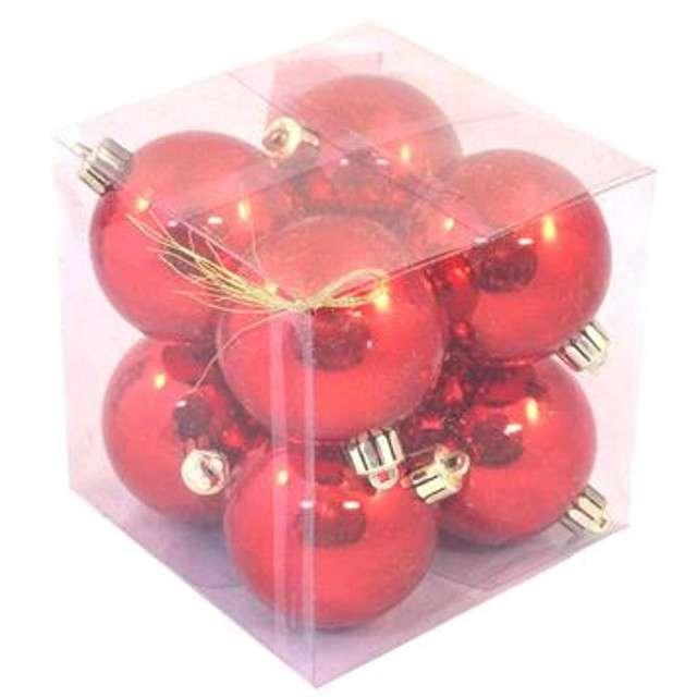 """Bombki """"Classic"""", plastikowe, czerwone, 6cm, 8 szt"""