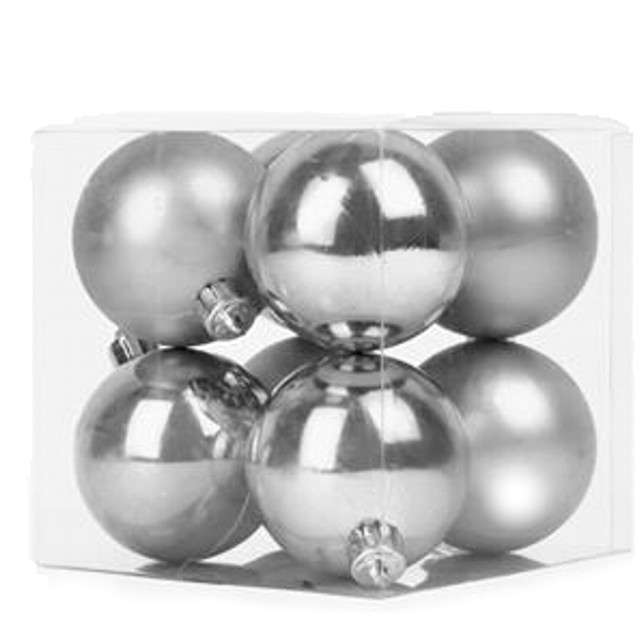 "Bombki ""Classic"", plastikowe, srebrne, 6cm, 8 szt"