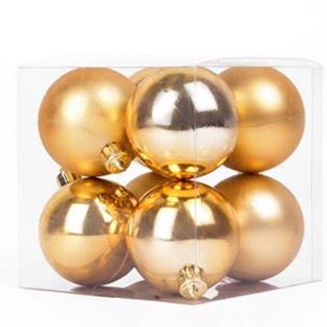 """Bombki """"Classic"""", plastikowe, złote, 6cm, 8 szt"""