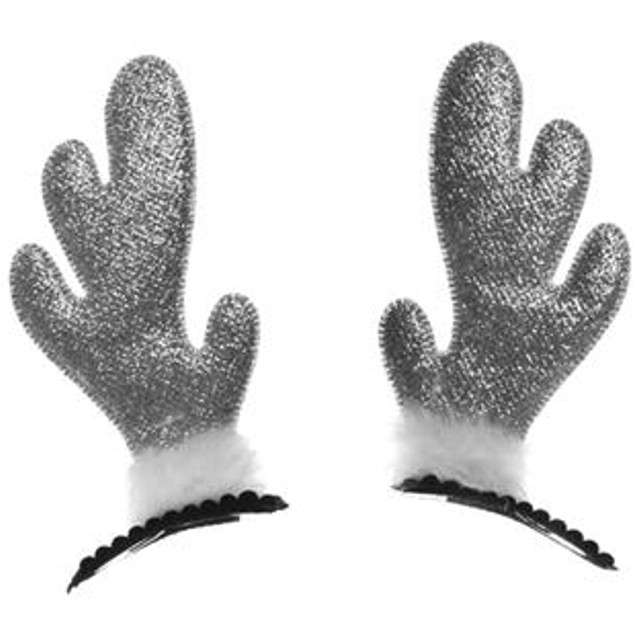 """Spinka do włosów """" Rogi Renifera"""", srebrny brokatowy, Arpex, 2szt"""
