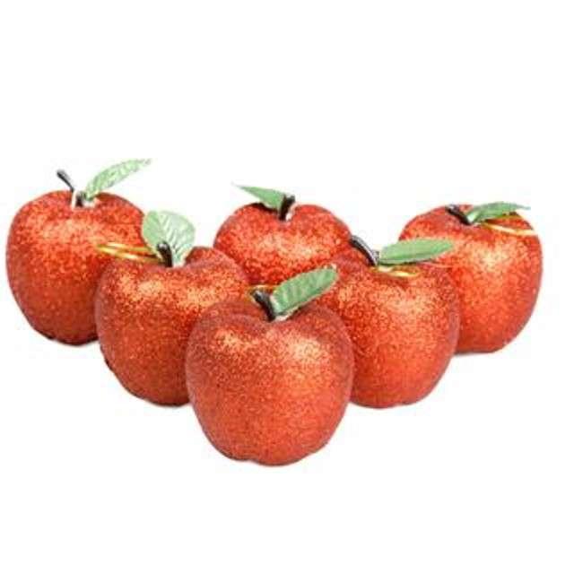 """Bombki """"Rajskie jabłuszko"""", plastikowe, czerwone, Arpex, 6 cm, 6 szt."""