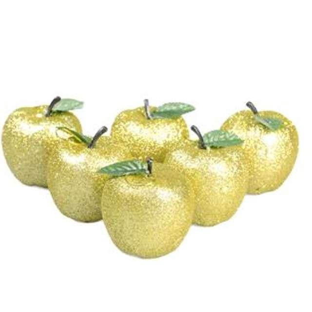 """Bombki """"Rajskie jabłuszko"""", plastikowe, złote, Arpex, 6 cm, 6 szt."""
