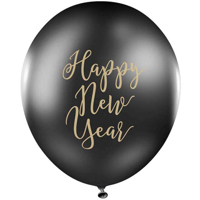 "Balon ""Happy New Year"", czarny, PartyDeco, 30cm"