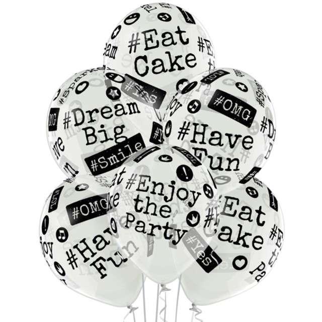 """Balony """"Hashtag"""", przezroczyste, BELBAL, 12"""", 6 szt"""