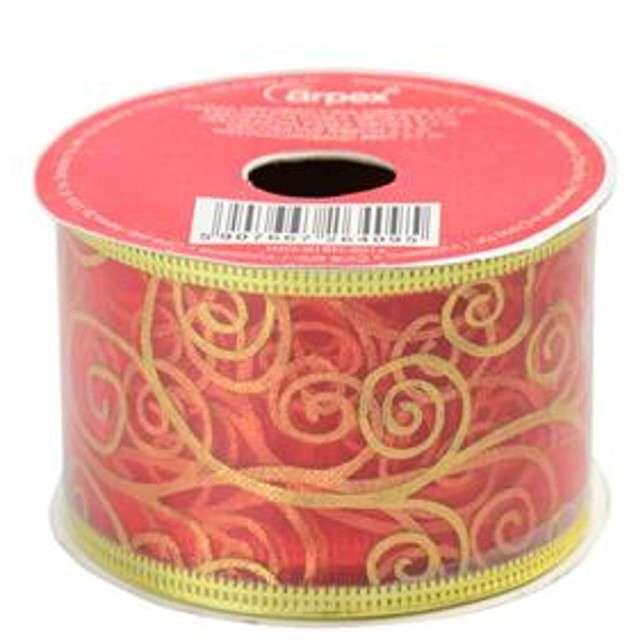 """Taśma dekoracyjna """"Organza Premium"""" z drucikiem, czerwona, 5 / 270 cm, ARPEX"""