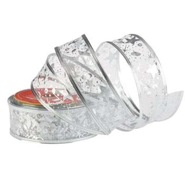 """Taśma dekoracyjna """"Organza Premium"""" z drucikiem, srebrna, 3,8 / 270 cm, ARPEX"""