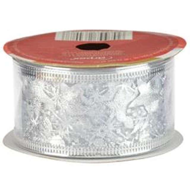 Taśma dekoracyjna Organza Premium z drucikiem srebrna 38 / 270 cm ARPEX
