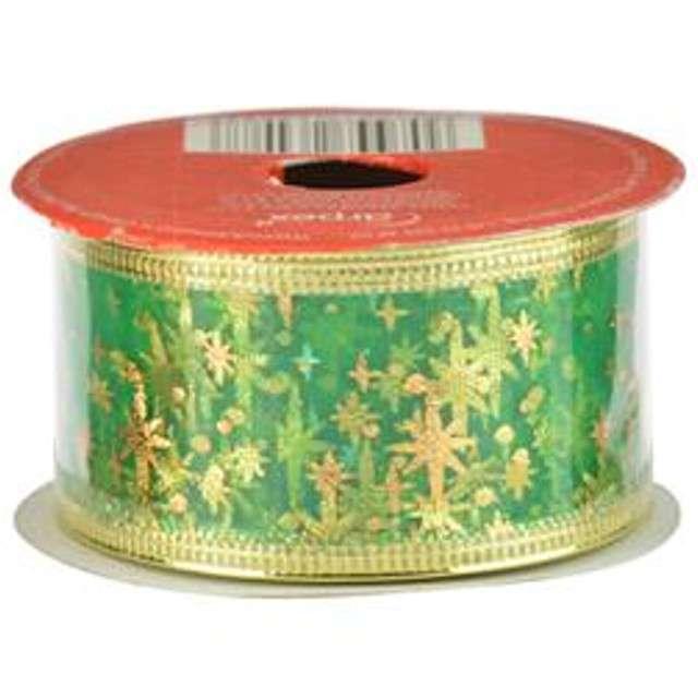 Taśma dekoracyjna Organza Premium z drucikiem zielona 38 / 270 cm ARPEX