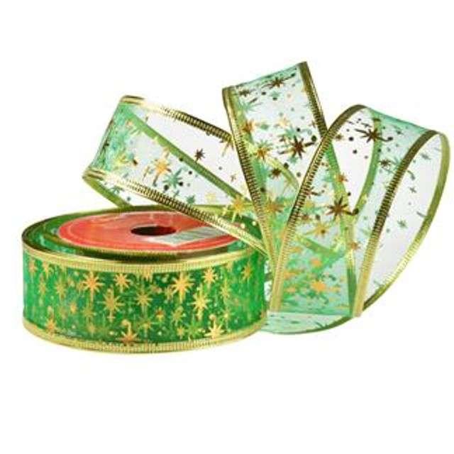 """Taśma dekoracyjna """"Organza Premium"""" z drucikiem, zielona, 3,8 / 270 cm, ARPEX"""