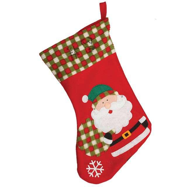 Skarpeta na prezenty Mikołaj w kratę Guirca 45 cm