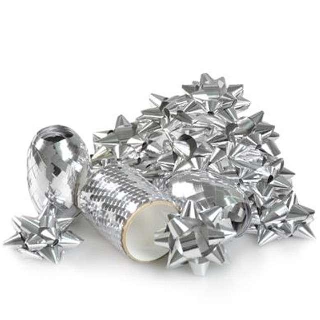 """Zestaw do dekoracji prezentów """"Classic"""", srebrny, Arpex"""