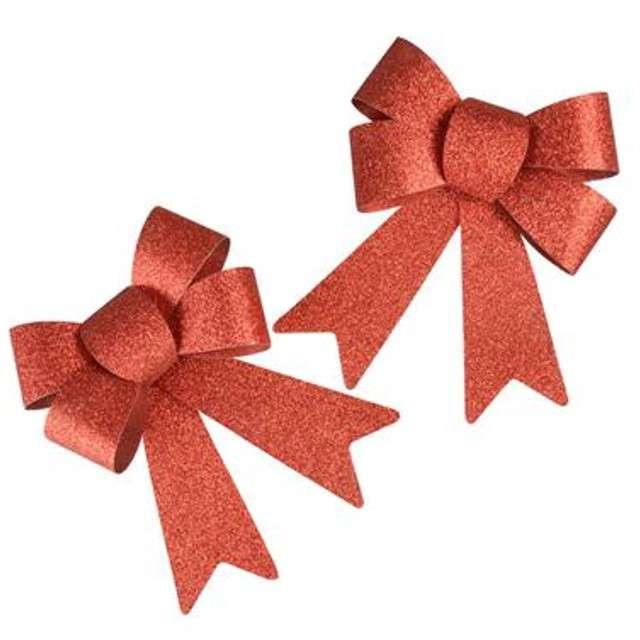 Kokardki do prezentów Classic czerwony brokatowy 2 szt ARPEX