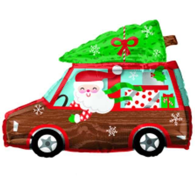 Balon foliowy Święty Mikołaj w samochodzie Amscan 50 x 38 cm