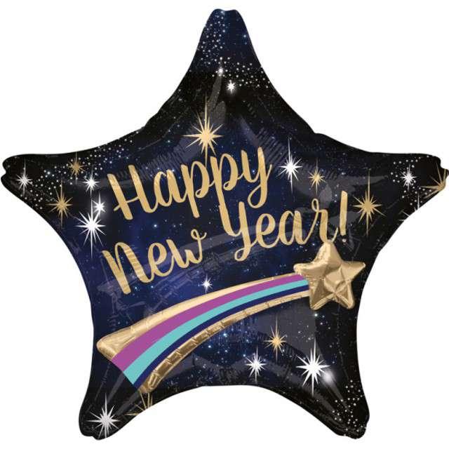 """Balon foliowy """"Happy New Year, spadająca gwiazda"""", Amscan, 71 x 71 cm"""