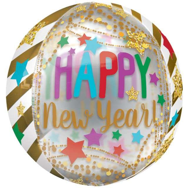 Balon foliowy Orbz - Happy New Year Amscan 38 cm ORB