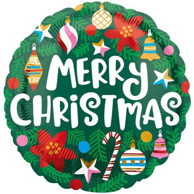 """Balon foliowy """"Merry Christmas - Choinka"""", Amscan, 43 cm"""