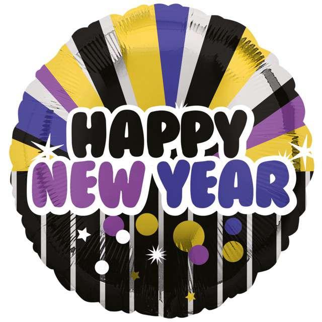 """Balon foliowy """"Happy New Year"""", AMSCAN, 18"""", RND"""
