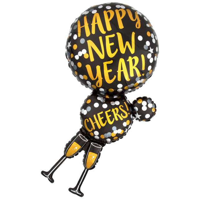"Balon foliowy ""Happy New Year"", holograficzny, AMSCAN, 36"", SHP"