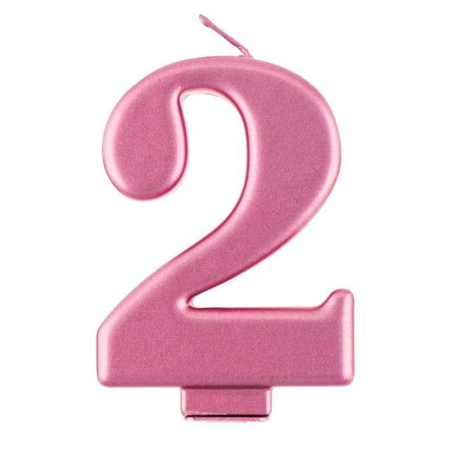 """Świeczka na tort """"2"""", różowa, Godan"""
