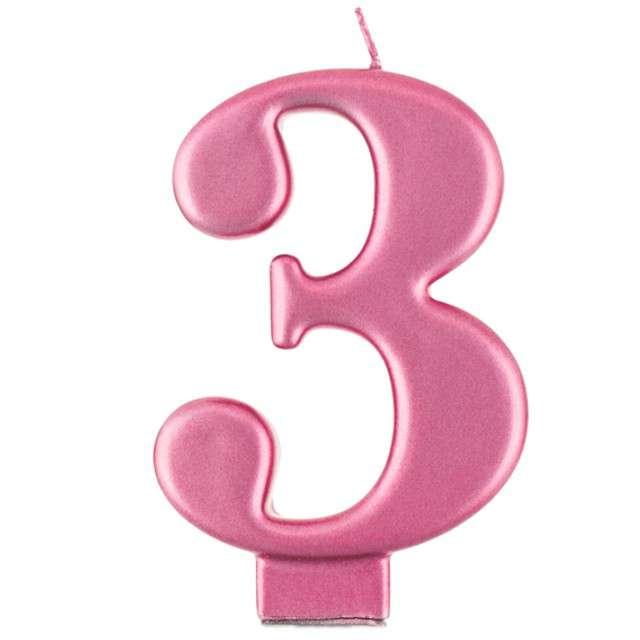 """Świeczka na tort """"3"""", różowa, Godan"""