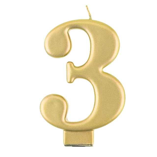 """Świeczka na tort """"3"""", złota, Godan"""