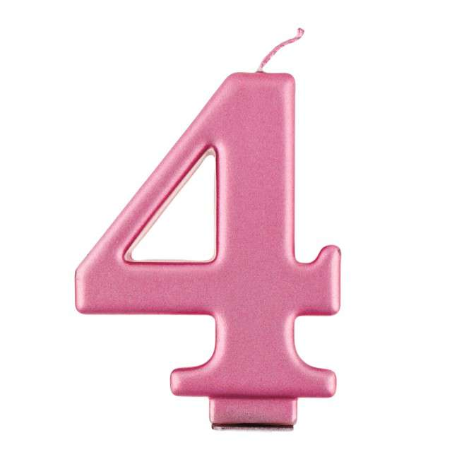 """Świeczka na tort """"4"""", różowa, Godan"""