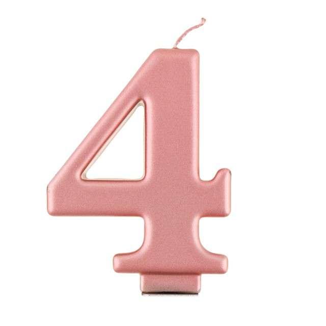 """Świeczka na tort """"4"""", różowe złoto, Godan"""