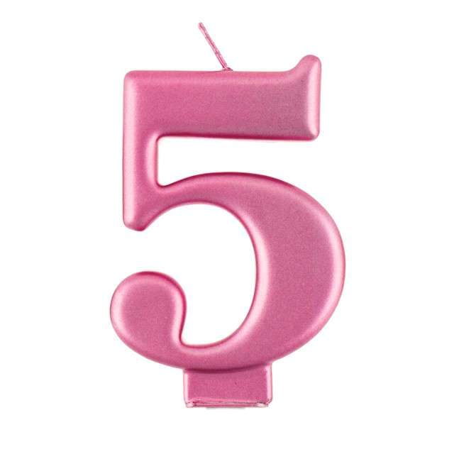 """Świeczka na tort """"5"""", różowa, Godan"""