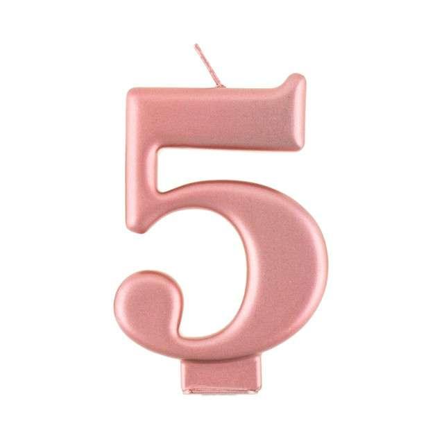 """Świeczka na tort """"5"""", różowe złoto, Godan"""