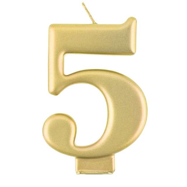 _xx_Świeczka cyferka 5 metalik złota 80 cm