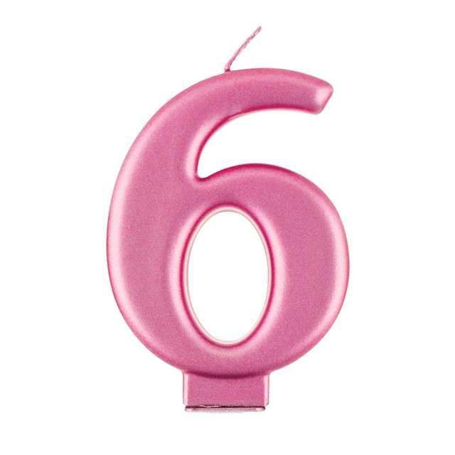 """Świeczka na tort """"6"""", różowa, Godan"""