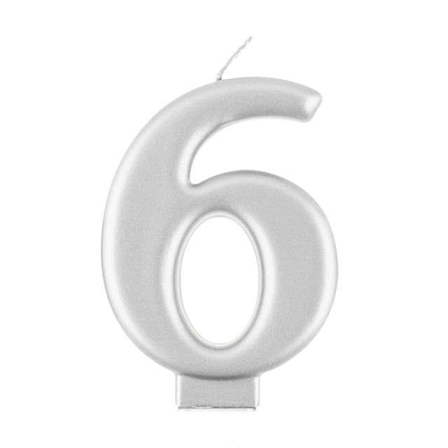"""Świeczka na tort """"6"""", srebrny, Godan"""
