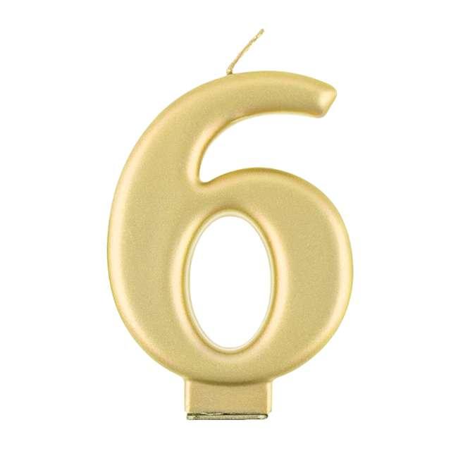 """Świeczka na tort """"6"""", złoty, Godan"""