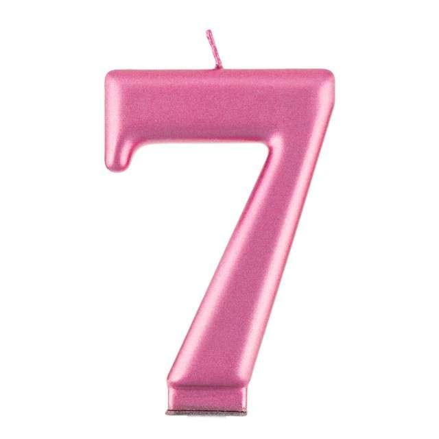 _xx_Świeczka cyferka 7 metalik różowa 80 cm