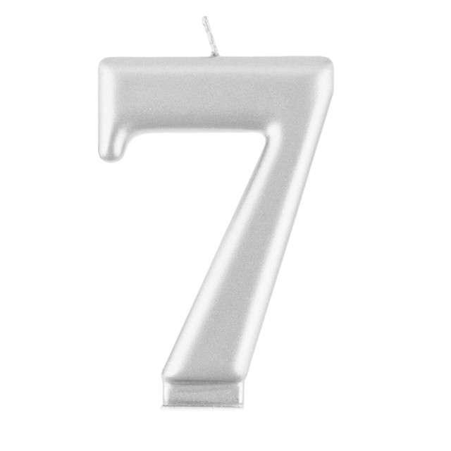 "Świeczka na tort ""7"", srebrna, Godan"