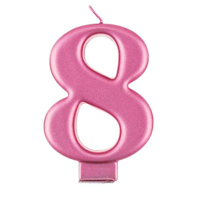 """Świeczka na tort """"8"""", różowa, Godan"""