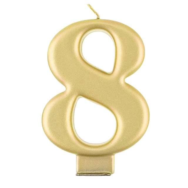 """Świeczka na tort """"8"""", złota, Godan"""