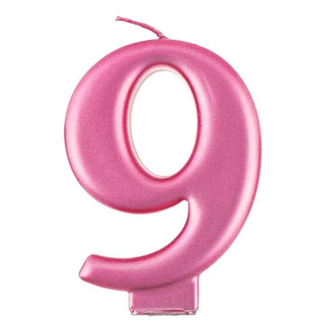 """Świeczka na tort """"9"""", różowa, Godan"""