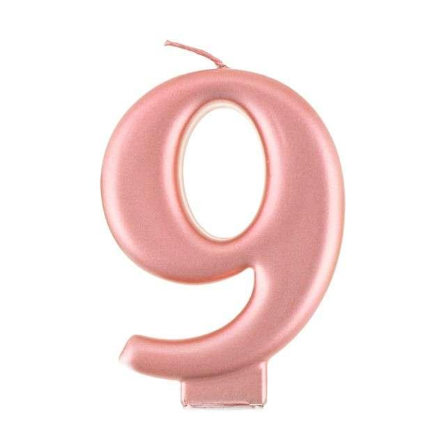 """Świeczka na tort """"9"""", różowo złota, Godan"""