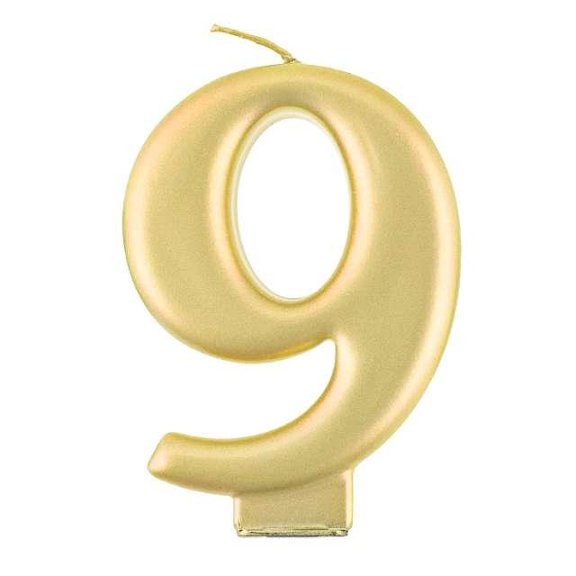 """Świeczka na tort """"9"""", złota, Godan"""