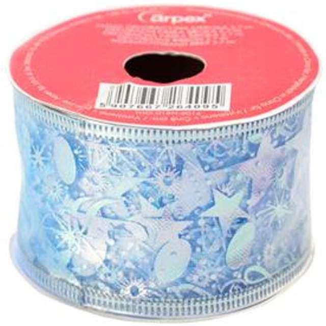 Taśma dekoracyjna Organza Premium z drucikiem błękitna 5 / 270 cm ARPEX