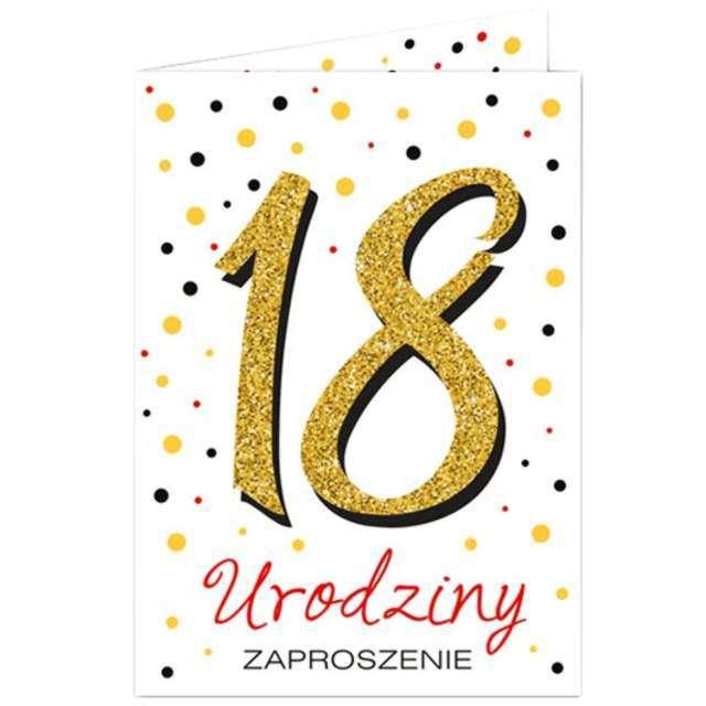 "Zaproszenia urodzinowe ""18 White & Gold"", VIPER, 10 szt"