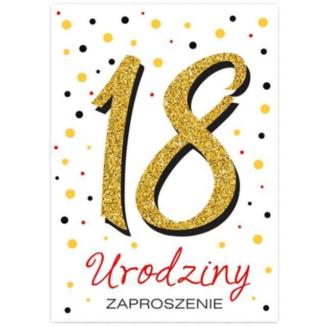 Zaproszenia urodzinowe 18 White & Gold VIPER 10 szt