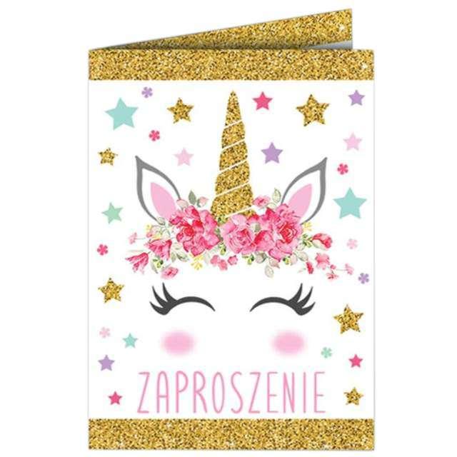 """Zaproszenia urodzinowe """"Jednorożec Gold"""", DekoracjePolska, 10 szt"""