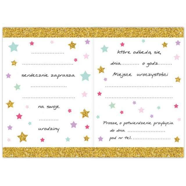 Zaproszenia urodzinowe Jednorożec Gold DekoracjePolska 10 szt