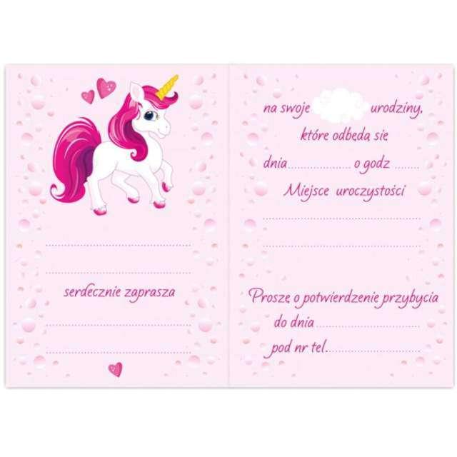 Zaproszenia urodzinowe Jednorożec Różowy DekoracjePolska 10 szt