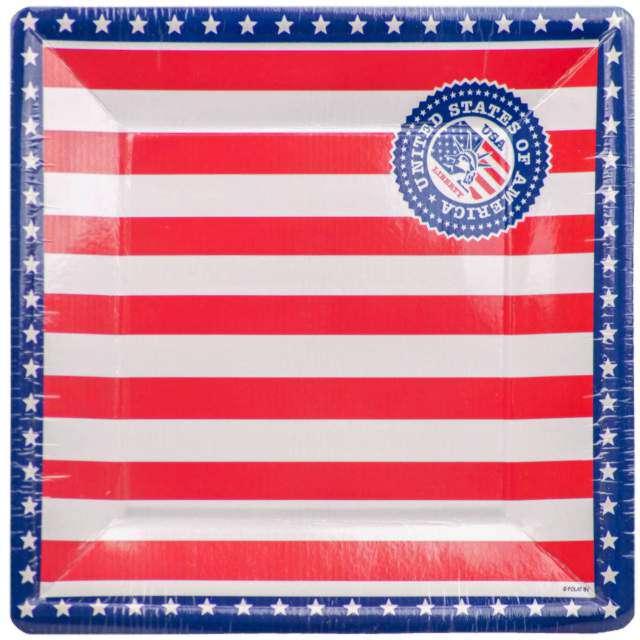 """Talerze papierowe """"USA Party"""", Folat, 25 cm, 8 szt."""