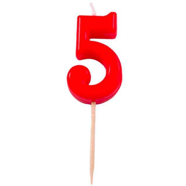 """Świeczka na tort """"5"""", FOLAT, czerwona"""