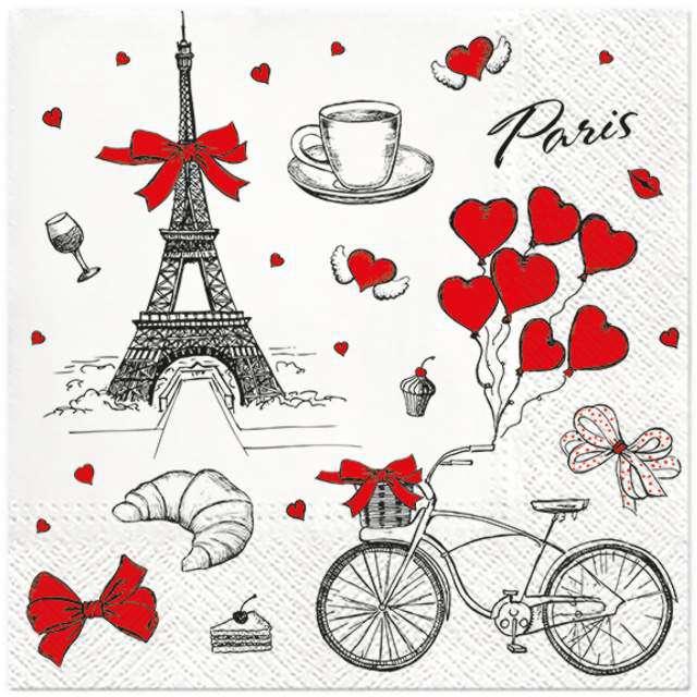 """Serwetki """"Kocham Francję"""", PAW, 33 cm, 20 szt."""